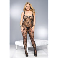 Plus Size Crotchless Catsuit With Frills-Music Legs