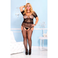 Short sleeve lace crotchless bodystocking-Music Legs