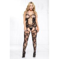 Plus Size Lace Catsuit With Suspender Design-Music Legs