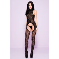 Lace Catsuit With Opening And Open Back-Music Legs