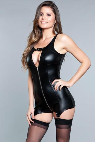 Larissa Wetlook Garter Dress - Black-Be Wicked