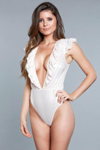 Madeline Thong Bodysuit - Off-White/Gold-Be Wicked