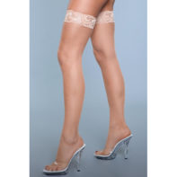 Kiss Goodnight Thigh High Stockings - Nude-Be Wicked