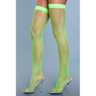 Nylon Fishnet Thigh Highs - Neon Green-Be Wicked
