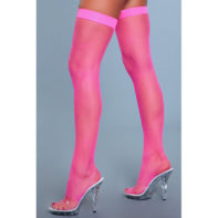 Nylon Fishnet Thigh Highs - Neon Pink-Be Wicked