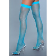 Nylon Fishnet Thigh Highs - Turquoise-Be Wicked