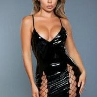 Donatella Wetlook Dress - Black-Be Wicked