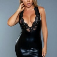 Lassy Wetlook Dress With Lace Details - Black-Be Wicked
