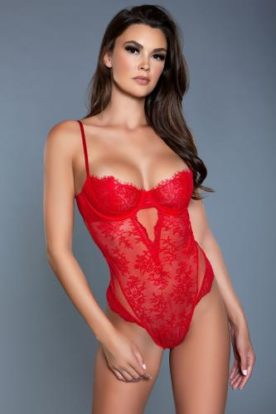 Ariella Lace Bodysuit - Red-Be Wicked