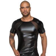 Wetlook Shirt With Powernet Inserts-Noir Handmade