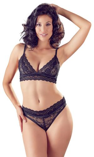 Lace Bra Set With Rhinestones-Cottelli Collection