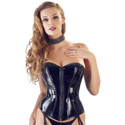 PVC Corset With Suspenders-Black Level