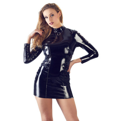 PVC Dress With Long Sleeves-Black Level