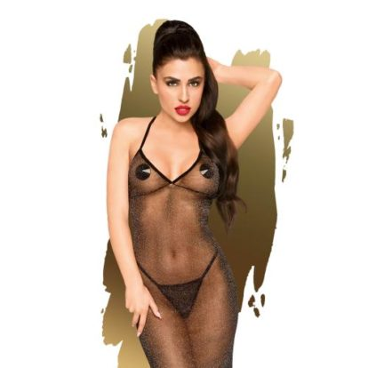 Love On Fire Glitter Dress With Thong - Black-Penthouse