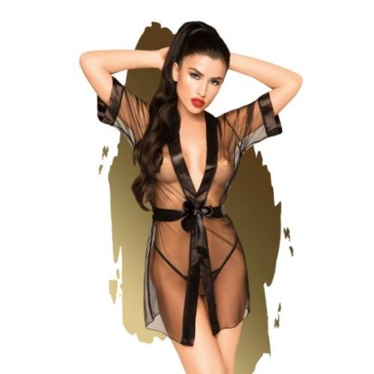 Penthouse Lingerie - Midnight Mirage Kimono With Thong-Penthouse