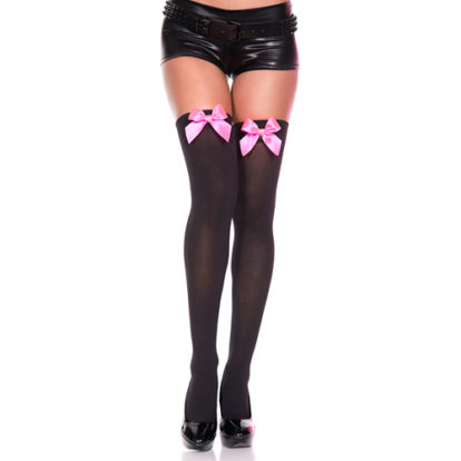Thigh High Stockings With Pink Bow-Music Legs