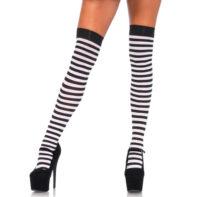 Striped Stockings - Black/White-Leg Avenue