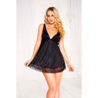 Satin overlace cup with lace trim mini dress BLACK-Music Legs