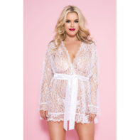 Plus Size Floral Face Robe - White-Music Legs