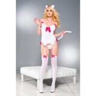Playful Kitty WHITE/FUCHSIA-Music Legs