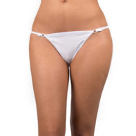 White thong with silver details-Sexy Kleding