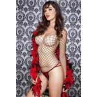 Fishnet Top With Long Sleeves And String-Music Legs