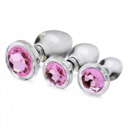 Pink Gem Glass Anal Plug Set-Booty Sparks