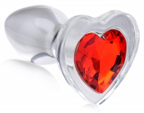 Red Heart Glass Anal Plug With Gem - Small-Booty Sparks