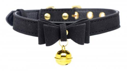 Golden Kitty Collar With Cat Bell - Black/Gold-Master Series