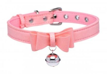 Golden Kitty Collar With Cat Bell - Pink-Master Series
