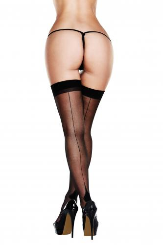 Baci - Sexy Seamed Stockings - Black-Baci Lingerie