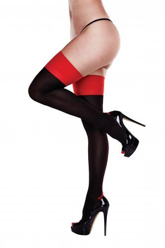 Baci - Garter Stockings With Red Trim-Baci Lingerie