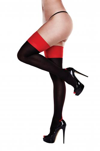 Baci - Garter Stockings With Red Trim - Curvy-Baci Lingerie