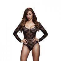 Baci - Lace Bodysuit With Open Back - Black-Baci Lingerie