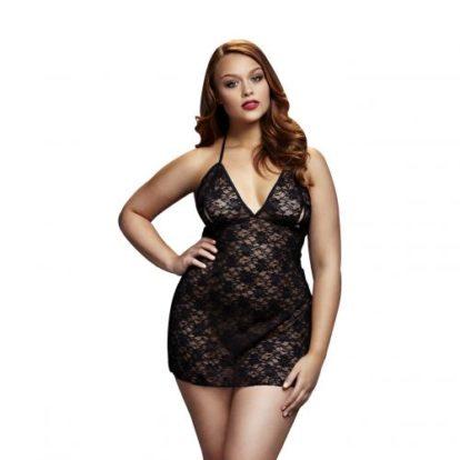 Baci - Black Lace Dress with Half Cups - Curvy-Baci Lingerie