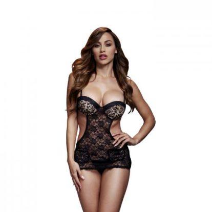 Baci - Lace Bodysuit With Open Sides - Leopard Print-Baci Lingerie