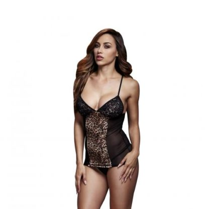 Baci - Sexy Top With Lace Cups and Leopard Print-Baci Lingerie