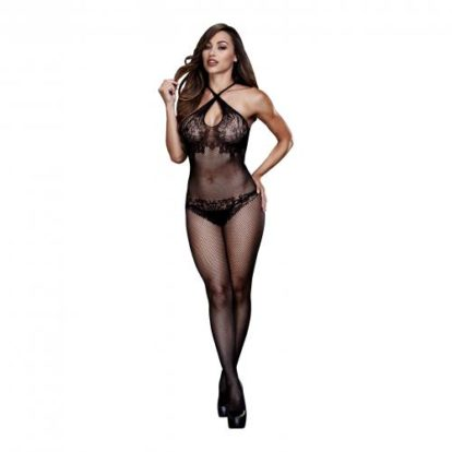 Baci - Fishnet Catsuit With Crossed Straps-Baci Lingerie