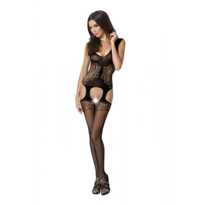 Suspender Bodystocking With Fishnet And Floral Pattern-Passion
