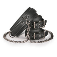 Leather Collar With Handcuffs-Easytoys Fetish Collection