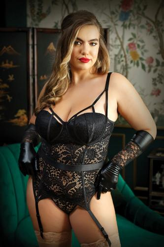 Moonlight Lace Garter Corset With Thong - Curvy-Premiere Classics
