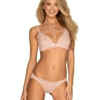 Delicanta Lace Bra Set With Pearls - Light Pink-Obsessive