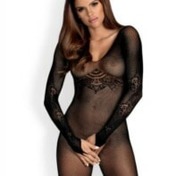 Net Bodystocking With Long Sleeves-Obsessive