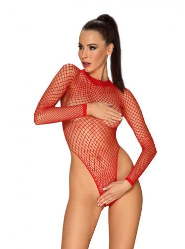 Long Sleeved Fishnet Thong Bodysuit - Red-Obsessive