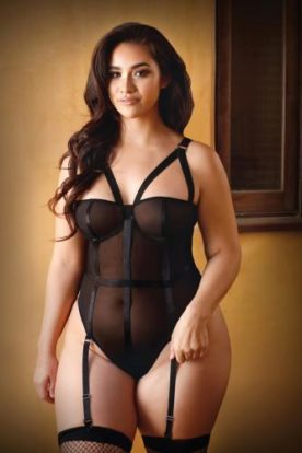 Pamela Bodysuit With Removable Garter Straps - Black-Curve
