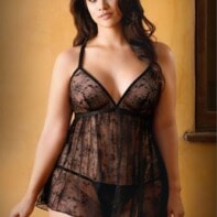 Elena Lace Babydoll With Sexy Thong - Black-Curve