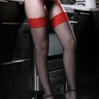 I Dare You Suspender Panty - Red / Black-Sheer Fantasy