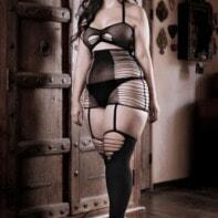 Love Bite Eye-Catching Garter Look Dress - Black-Sheer Fantasy