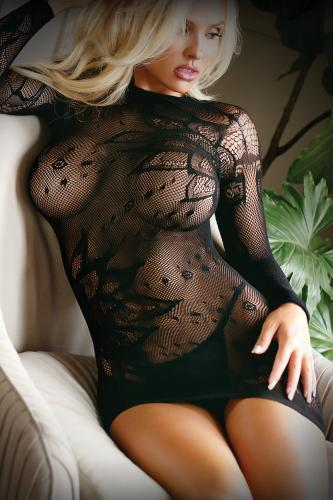 Mini Dress Made From Mesh Fabric With Thong - Black-Vixen