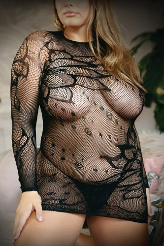 Made For You High neck Floral Lace dress And G-String-Vixen